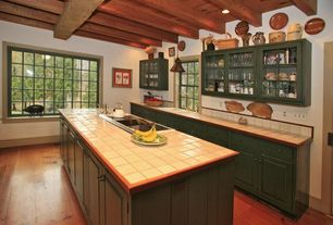 Country Kitchen with large ceramic tile counters, Standard height, picture window, One-wall, Glass panel, Multiple Sinks