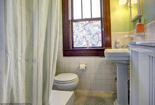 Craftsman Full Bathroom with Glass panel, Pedestal sink, penny tile floors, Flush, Wall sconce