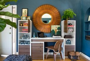 Contemporary Home Office with specialty door, Standard height, Laminate floors, Built-in bookshelf