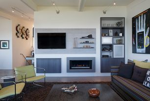Contemporary Living Room with insert fireplace, Laminate floors, Built-in bookshelf, can lights, Standard height, Fireplace