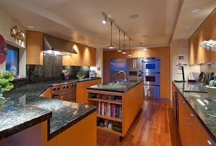 Modern Kitchen with Simple granite counters, Flush, U-shaped, Wine refrigerator, Undermount sink, European Cabinets