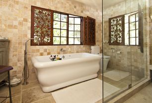 Eclectic Master Bathroom with CESI ACRYLIC TUB - SQUARE FEET, Freestanding, frameless showerdoor, Master bathroom, Flush