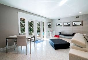 Modern Home Office with Whiteline Imports Melody Leather Sofa, Master Terrazzo Floor, interior wallpaper, French doors