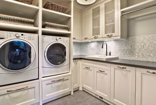 Traditional Laundry Room with Ms international rosa grigio polished marble mesh-mounted mosaic tile, Built-in bookshelf