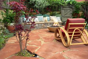 Rustic Patio with exterior stone floors, Gate, Pathway, Arbor, Ecosmart fire mix bowl fire pit, Fence, Barn door, Fire pit