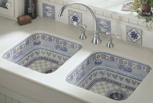 Mediterranean Kitchen with Arched faucet, Mosaic sink, Glass panel, mexican tile backsplash, Limestone tile counters, Flush