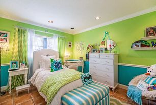 Traditional Kids Bedroom with Chair rail, Helmer Wall Mirror by Decor Wonderland, Crown molding, Carpet