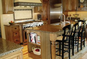Country Kitchen with Limestone Tile, L-shaped, Kitchen island, Custom hood, Silestone brazilian brown quartz countertop