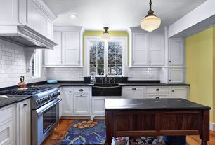 Country Kitchen with Black apron sink, White subway tile 3x6 glossy, Kitchen island, L-shaped, Shaker cabinets, Subway Tile