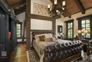Rustic Guest Bedroom with Exposed beam, Hardwood floors, Art desk, Fairmont Designs - Grand Estates Sleigh Leather Bed