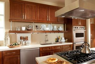 Modern Kitchen with Flat panel cabinets, Corian counters, Flush, Undermount sink, One-wall, Kitchen island, Glass panel