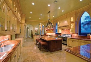 Mediterranean Kitchen with Galley, Undermount sink, High ceiling, Kitchen island, Breakfast nook, Inset cabinets, Glass panel