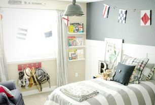 Contemporary Kids Bedroom with Carpet, flush light, Built-in bookshelf