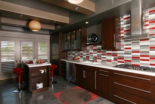 Contemporary Kitchen with Standard height, stone tile floors, Quartz counters, Exposed beam, L-shaped, Breakfast bar, Flush