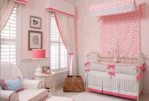 Traditional Kids Bedroom with Carpet, Sitting area, Paint 1, Bratt decor - venetian iron crib in antique white, Wicker basket