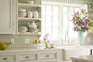 Cottage Kitchen with Complex marble counters, can lights, Open shelving, Standard height, Apron sink - white, Casement, Paint