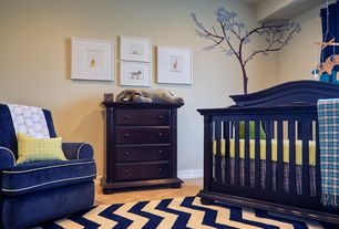 Contemporary Kids Bedroom with Paint 1, Safavieh chevron-patterned indoor/outdoor courtyard navy/beige rug, Nursery