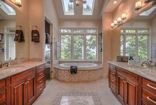 Craftsman Master Bathroom with Chandelier, limestone tile floors, Limestone, Inset cabinets, Master bathroom, Raised panel