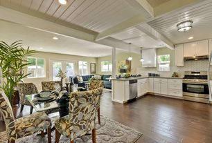 Contemporary Kitchen with Columns, Casement, French doors, double-hung window, can lights, Standard height, Pendant light