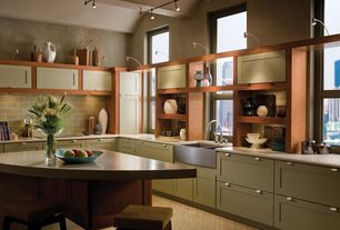 Contemporary Kitchen with Flat panel cabinets, Standard height, Ong tab pull, matte chrome, Kitchen island, Paint 2, Flush