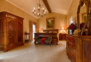 Traditional Master Bedroom with Carpet, Exposed beam, Crown molding, Chandelier, High ceiling
