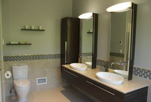 Contemporary Master Bathroom with Daltile - Arctic Gray 12 in. x 12 in. Natural Stone Floor and Wall Til, Flush, Double sink