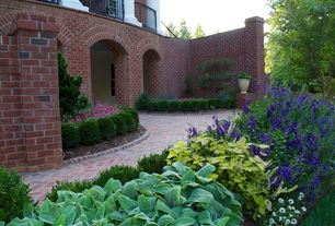Traditional Landscape/Yard with Fence, Pathway, exterior brick floors