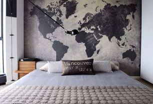 Contemporary Master Bedroom with Carpet, interior wallpaper, Standard height, Pixersize.com - world map on chalk board