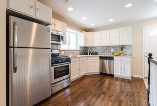 Contemporary Kitchen with Complex granite counters, L-shaped, specialty door, Oak - Sable 3 1/4 in. Solid Hardwood Plank