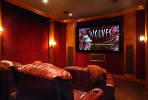 Traditional Home Theater with Wall sconce, Crown molding, can lights, Carpet, Standard height