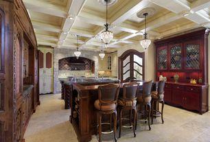 Traditional Kitchen with Custom hood, Flat panel cabinets, Raised panel, Kitchen island, Glass panel, limestone tile floors