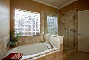 Craftsman Master Bathroom with Crown molding, six panel door, Master bathroom, Standard height, stone tile floors, Wall Tiles