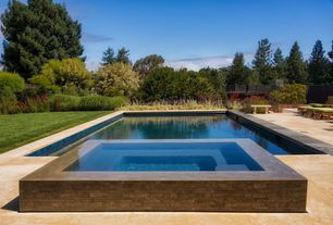 Contemporary Swimming Pool with Fence, Pool with hot tub, Pathway, exterior stone floors