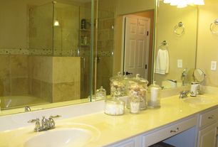 Traditional Master Bathroom with Zadro Cordless LED Mirror, Double sink, Master bathroom, Corian counters, Mason Towel Ring