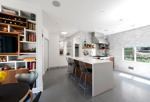 Contemporary Kitchen with Breakfast bar, European Cabinets, Stainless Steel, L-shaped, Subway Tile, Breakfast nook, Flush