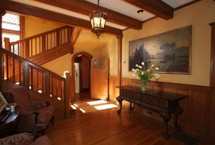 Traditional Entryway with Maple - Sumatra 2 1/4 in. Solid Hardwood Strip, Hardwood floors, Chair rail, flush light
