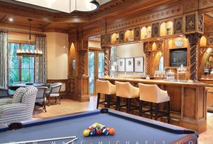 Traditional Game Room with Pillar candle round chandelier, High ceiling, Paint 2, Chandelier, can lights, flush light, Paint