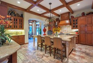Country Kitchen with Ceramic Tile, Custom hood, Raised panel, Glass panel, Exposed beam, Undermount sink, Kitchen island