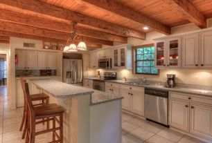Rustic Kitchen with flush light, Standard height, Raised panel, Glass panel, dishwasher, Multiple Sinks, Inset cabinets