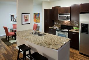 Contemporary Kitchen with European Cabinets, flush light, full backsplash, Scoop Stool, Ceramic Tile, Breakfast bar, Paint 2
