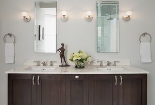 "Modern Master Bathroom with Wall sconce, frameless showerdoor, Lamps plus frameless rectangular 40"" high beveled wall mirror"