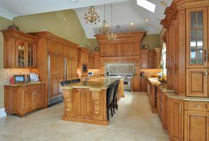 Traditional Kitchen with Breakfast bar, Ms international - golden beach, Kitchen island, Stone Tile, Custom hood, Flush