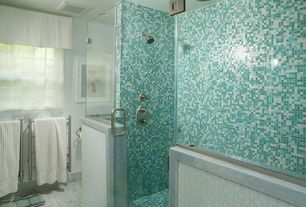 Contemporary Full Bathroom with Choose Frameless Pivot Hinge Shower Door Configurations, Rain shower, Green mix matt tiles