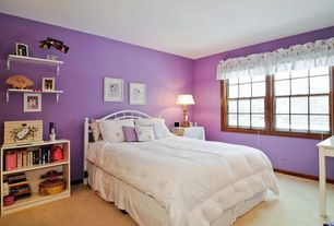 Traditional Kids Bedroom with double-hung window, Carpet, Standard height
