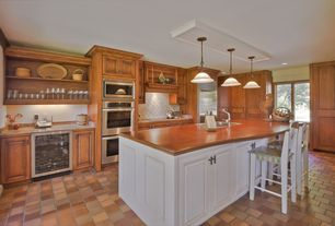 """Eclectic Kitchen with L-shaped, Izmir travertine tile - tumbled riverbed walnut beige  4""""x4""""x3/8"""" slightly rounded"""