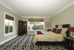 Modern Guest Bedroom with Crown molding, Carpet