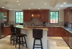 Traditional Kitchen with Custom hood, Raised panel, built-in microwave, Large Ceramic Tile, Casement, electric cooktop