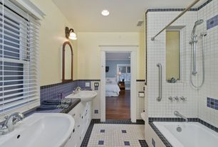 Eclectic Full Bathroom with Framed Partial Panel, partial backsplash, Double sink, can lights, Paint 1, Casement, Full Bath