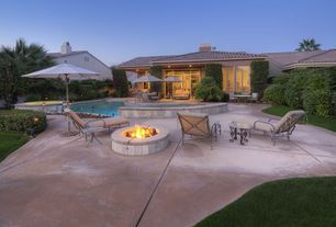 Modern Swimming Pool with Pool with hot tub, exterior tile floors, Fence, Fire pit