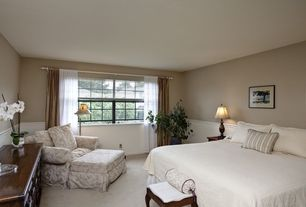 Traditional Guest Bedroom with Carpet, Chair rail